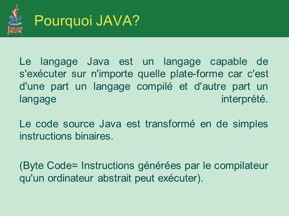 Le langage Java est un langage capable de s exécuter sur n importe quelle plate-forme car c est d une part un langage compilé et d autre part un langage interprété.