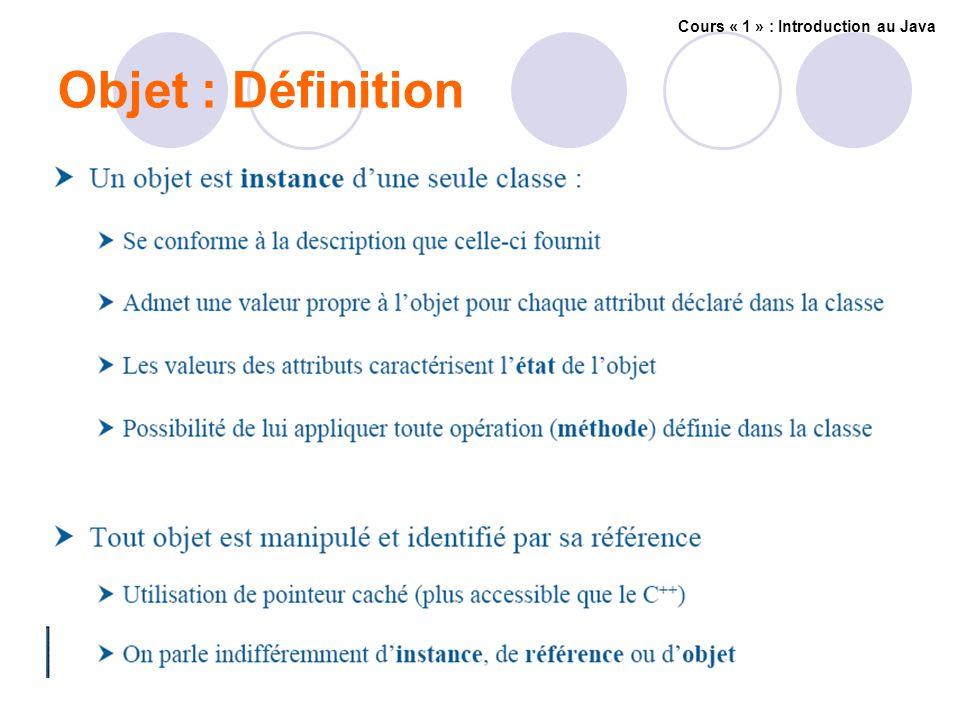 Objet : Définition Cours « 1 » : Introduction au Java