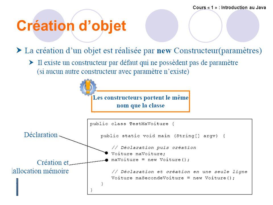 Création dobjet Cours « 1 » : Introduction au Java