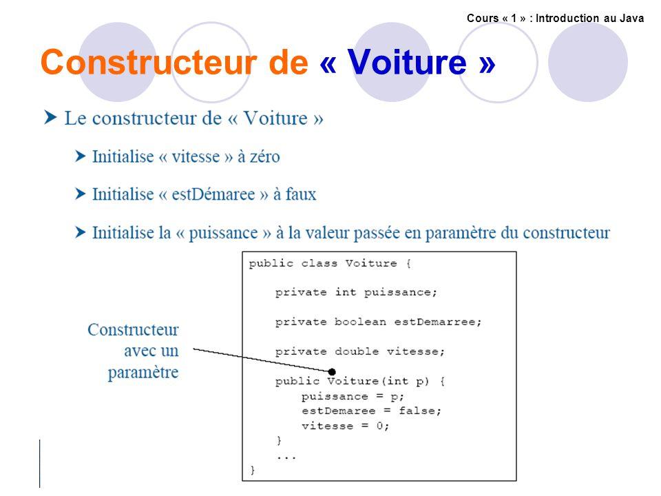 Constructeur de « Voiture » Cours « 1 » : Introduction au Java