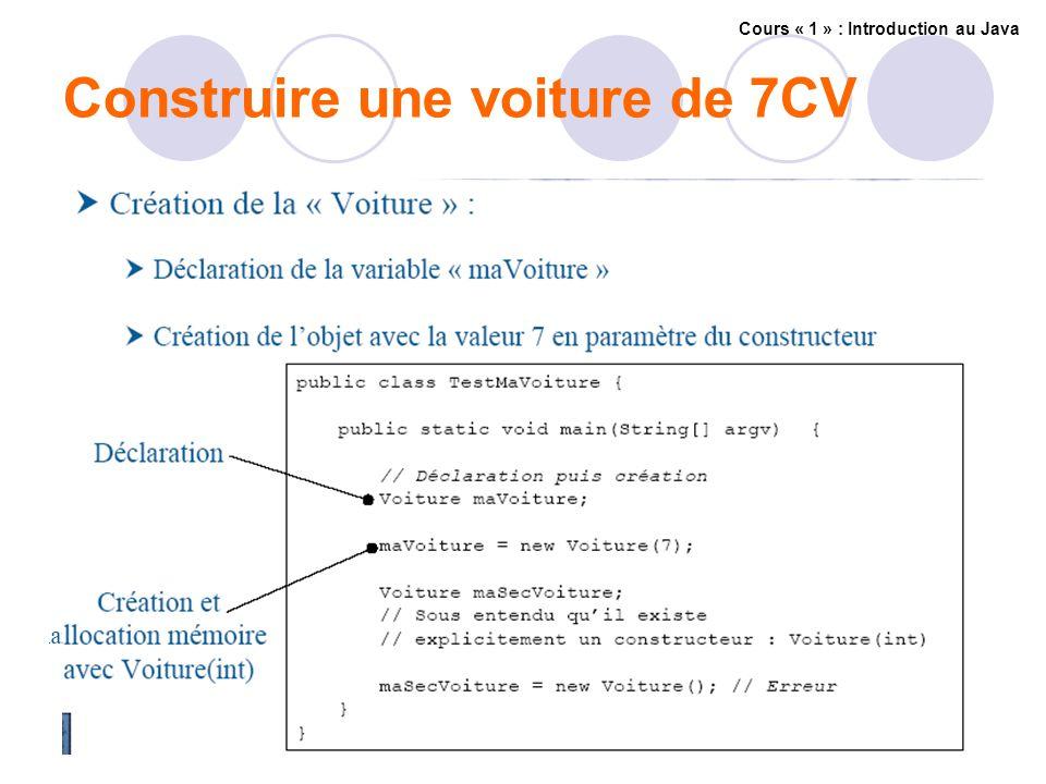 Construire une voiture de 7CV Cours « 1 » : Introduction au Java