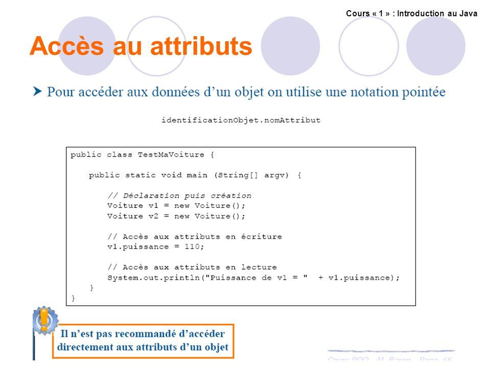 Accès au attributs Cours « 1 » : Introduction au Java