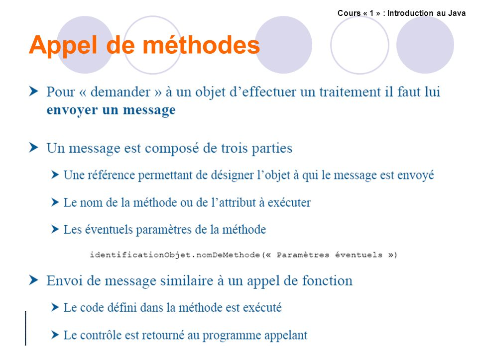 Appel de méthodes Cours « 1 » : Introduction au Java