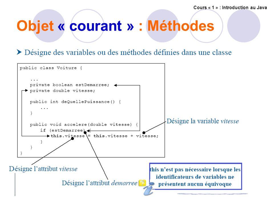 Objet « courant » : Méthodes Cours « 1 » : Introduction au Java
