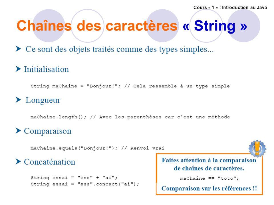 Chaînes des caractères « String » Cours « 1 » : Introduction au Java