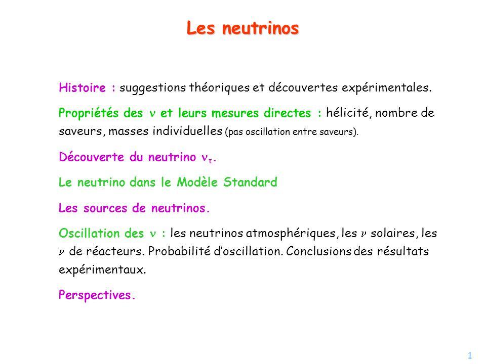 1 Les neutrinos Histoire : suggestions théoriques et découvertes expérimentales. Propriétés des et leurs mesures directes : hélicité, nombre de saveur