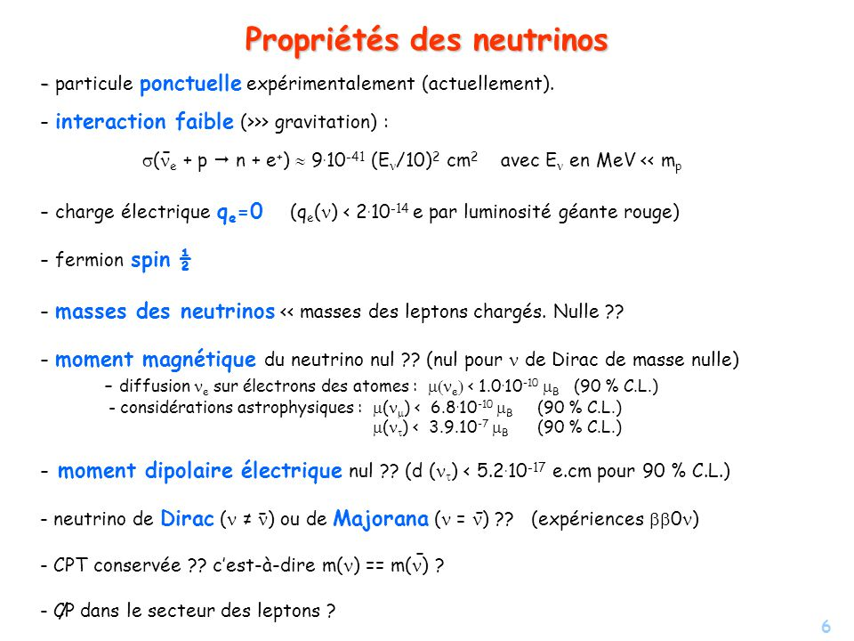6 Propriétés des neutrinos - - particule ponctuelle expérimentalement (actuellement). - interaction faible (>>> gravitation) : ( e + p n + e + ) 9. 10
