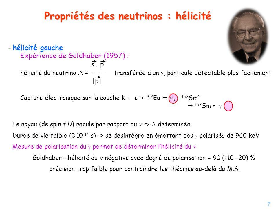 7 Propriétés des neutrinos : hélicité Le noyau (de spin 0) recule par rapport au déterminée Durée de vie faible (3. 10 -14 s) se désintègre en émettan