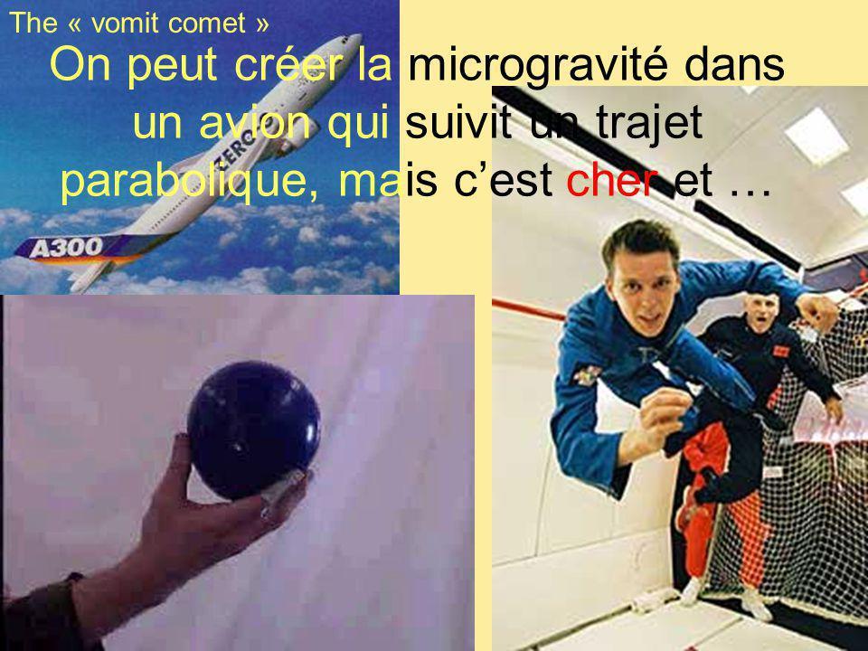 On peut créer la microgravité dans un avion qui suivit un trajet parabolique, mais cest cher et … The « vomit comet »