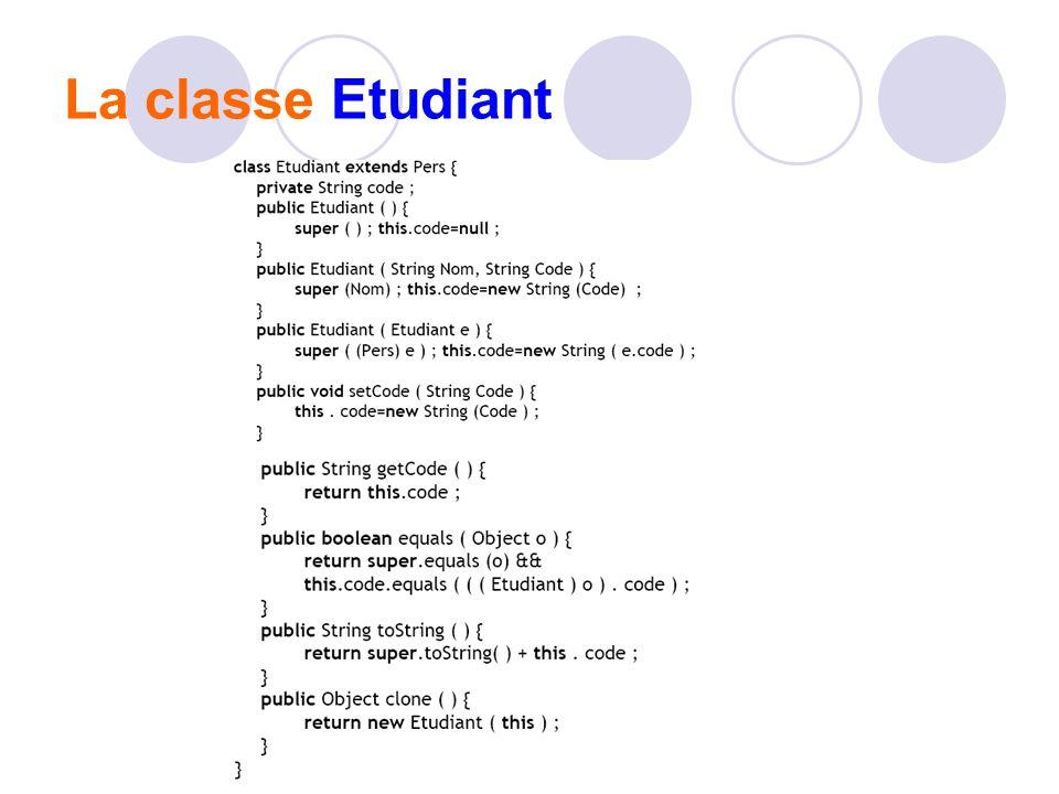 La classe Etudiant