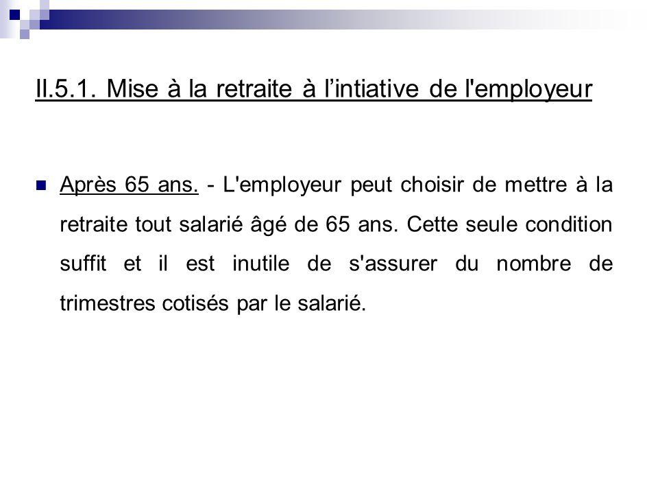 II.5.1.Mise à la retraite à lintiative de l employeur Après 65 ans.