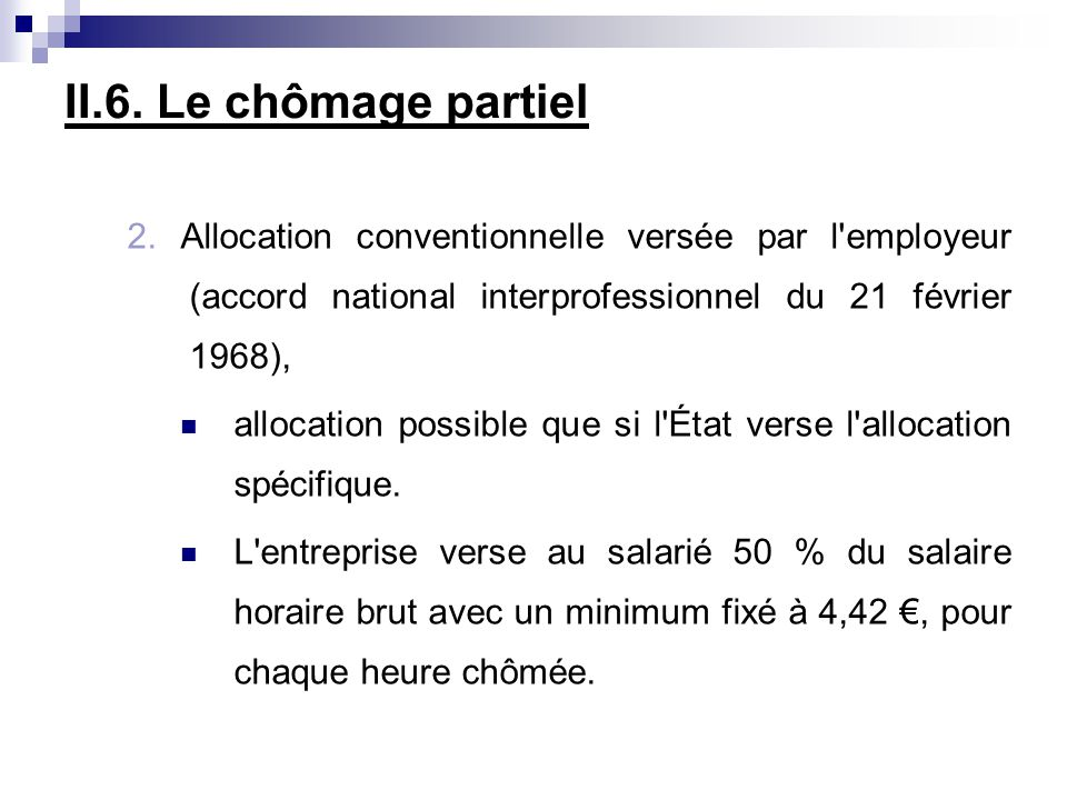 II.6. Le chômage partiel 2. Allocation conventionnelle versée par l'employeur (accord national interprofessionnel du 21 février 1968), allocation poss