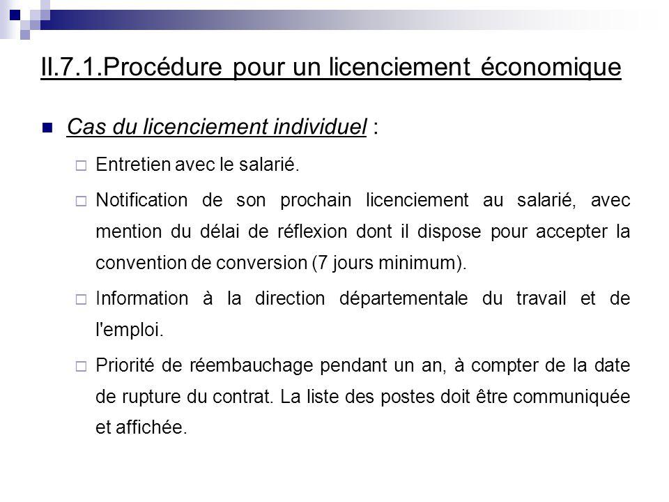 II.7.1.Procédure pour un licenciement économique Cas du licenciement individuel : Entretien avec le salarié.