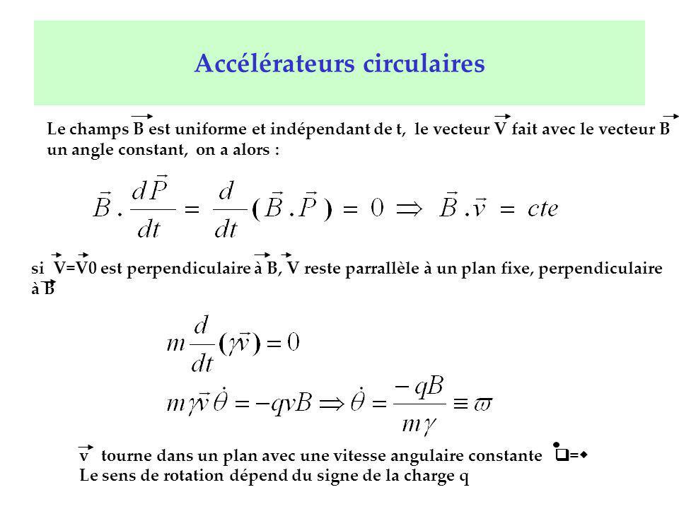 Accélérateurs circulaires Le champs B est uniforme et indépendant de t, le vecteur V fait avec le vecteur B un angle constant, on a alors : si V=V0 es