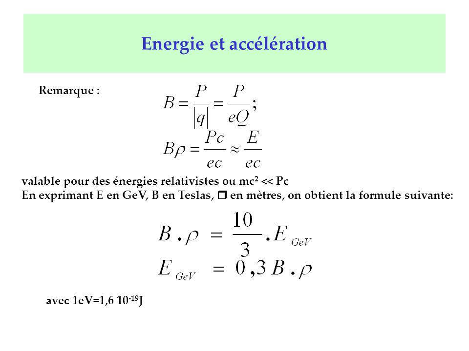 Energie et accélération Remarque : valable pour des énergies relativistes ou mc 2 << Pc En exprimant E en GeV, B en Teslas, r en mètres, on obtient la