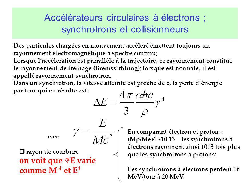 Accélérateurs circulaires à électrons ; synchrotrons et collisionneurs Des particules chargées en mouvement accéléré émettent toujours un rayonnement