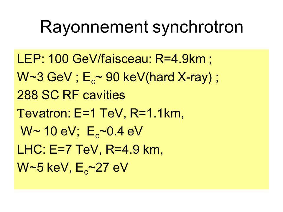 Rayonnement synchrotron LEP: 100 GeV/faisceau: R=4.9km ; W~3 GeV ; E c ~ 90 keV(hard X-ray) ; 288 SC RF cavities evatron: E=1 TeV, R=1.1km, W~ 10 eV;