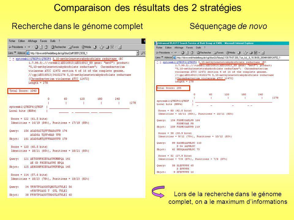 Comparaison des méthodes de recherche Méthode classique Recherche dans les banques protéiques (SwissProt+TrEMBL+ TrEMBLnew) Pas de résultats dans la plupart des cas ou des résultats sans grande confiance Recherche dans le génome 1/ Recherche dans le génome Identification avec 5 à 15 peptides par protéine 2 / BLAST Durée : 5 minutes Identification avec 3, 4 ou 5 peptides par protéine Stratégie de novo 1/ Traitement avec PEAKS 2 / BLAST Durée : 60 minutes 3/ Vérification des séquences 4/ BLAST de vérification