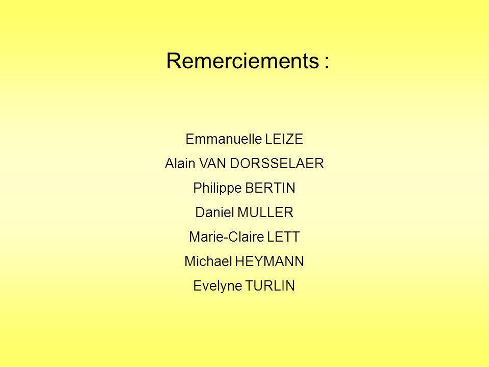 Remerciements : Emmanuelle LEIZE Alain VAN DORSSELAER Philippe BERTIN Daniel MULLER Marie-Claire LETT Michael HEYMANN Evelyne TURLIN