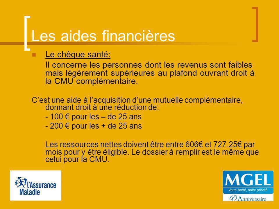 Les aides financières Le chèque santé: Il concerne les personnes dont les revenus sont faibles mais légèrement supérieures au plafond ouvrant droit à la CMU complémentaire.