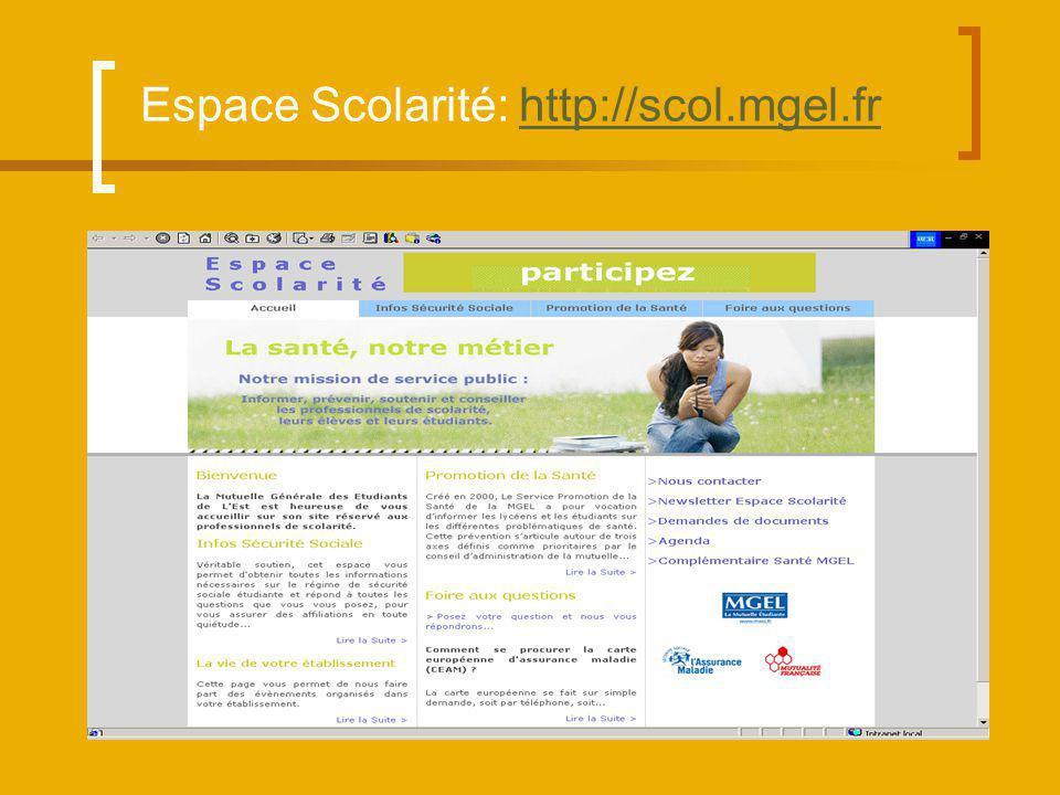 Espace Scolarité: http://scol.mgel.frhttp://scol.mgel.fr