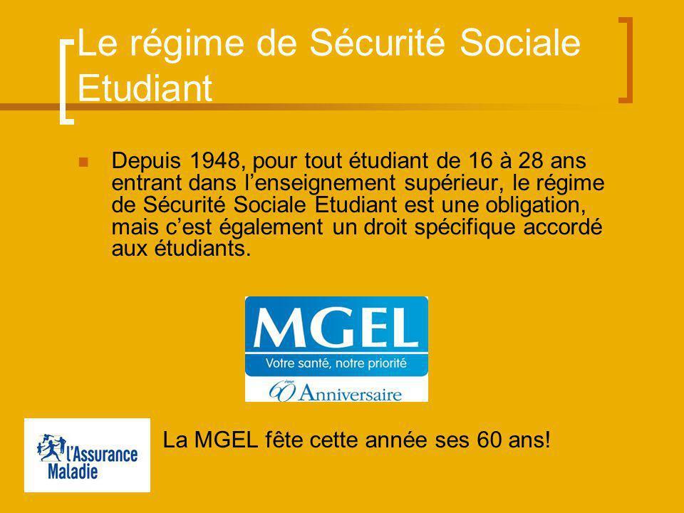 Le régime de Sécurité Sociale Etudiant Depuis 1948, pour tout étudiant de 16 à 28 ans entrant dans lenseignement supérieur, le régime de Sécurité Sociale Etudiant est une obligation, mais cest également un droit spécifique accordé aux étudiants.