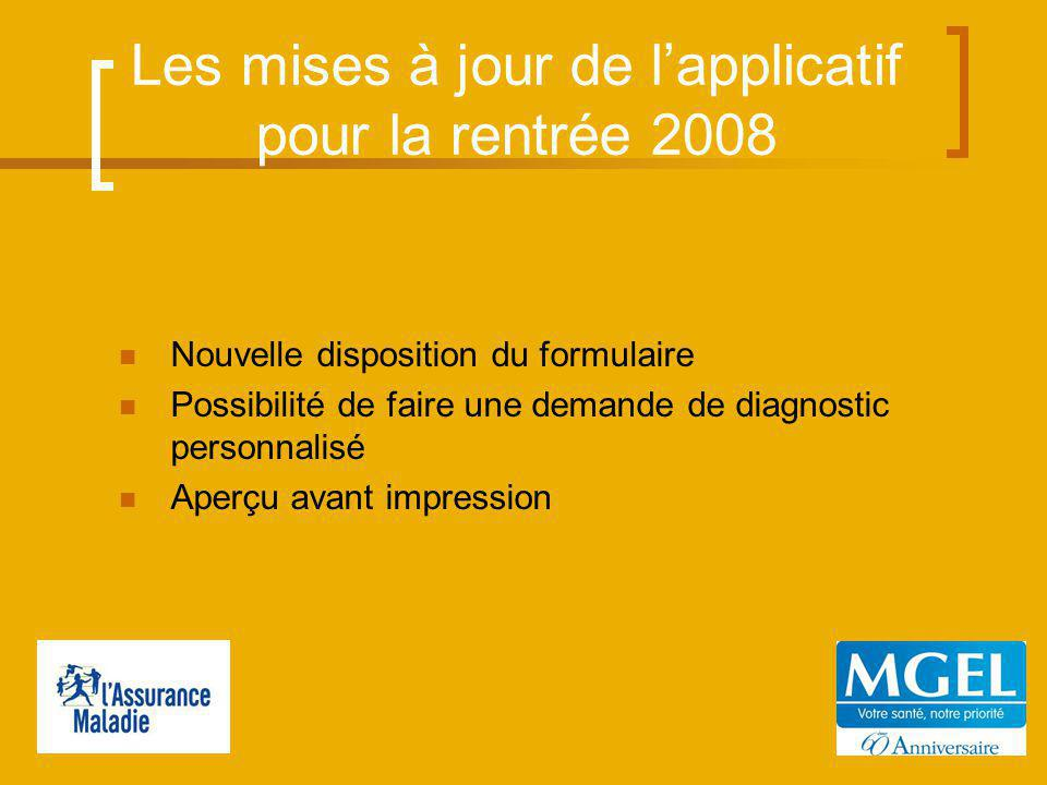 Les mises à jour de lapplicatif pour la rentrée 2008 Nouvelle disposition du formulaire Possibilité de faire une demande de diagnostic personnalisé Aperçu avant impression