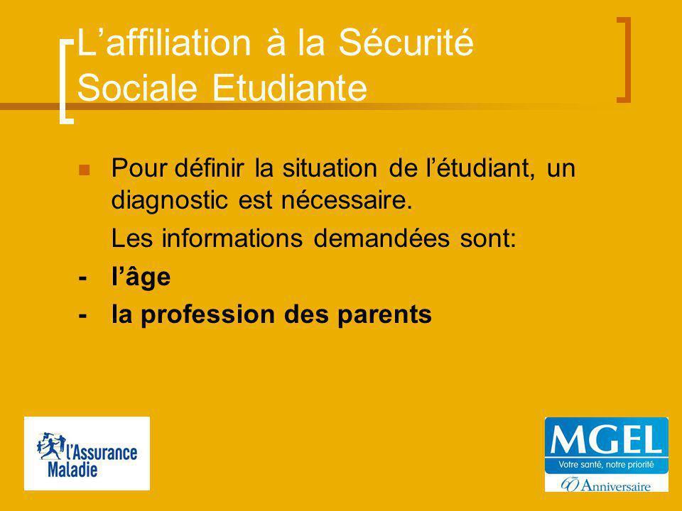 Laffiliation à la Sécurité Sociale Etudiante Pour définir la situation de létudiant, un diagnostic est nécessaire.