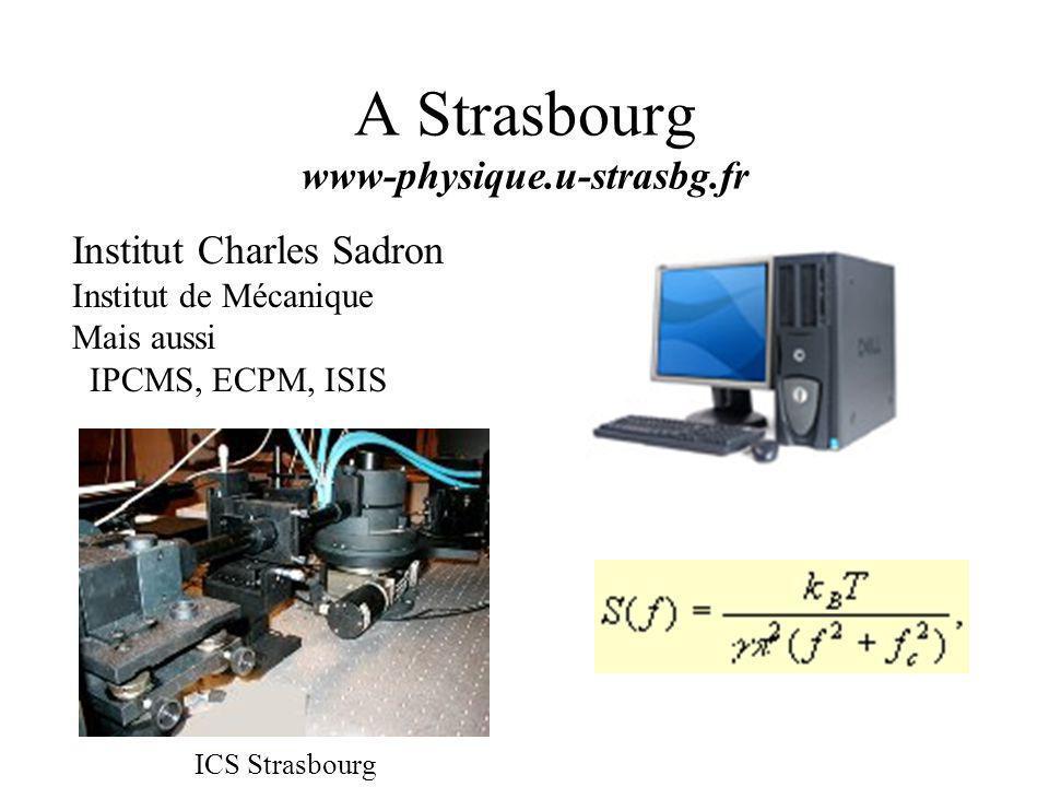 A Strasbourg www-physique.u-strasbg.fr Institut Charles Sadron Institut de Mécanique Mais aussi IPCMS, ECPM, ISIS ICS Strasbourg