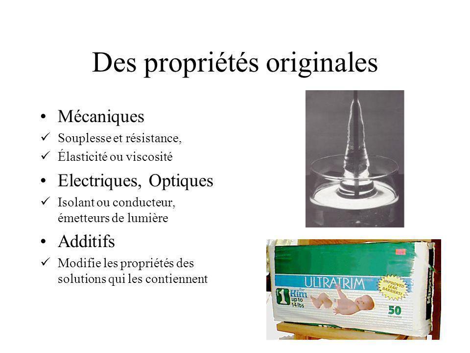 Des propriétés originales Mécaniques Souplesse et résistance, Élasticité ou viscosité Electriques, Optiques Isolant ou conducteur, émetteurs de lumière Additifs Modifie les propriétés des solutions qui les contiennent