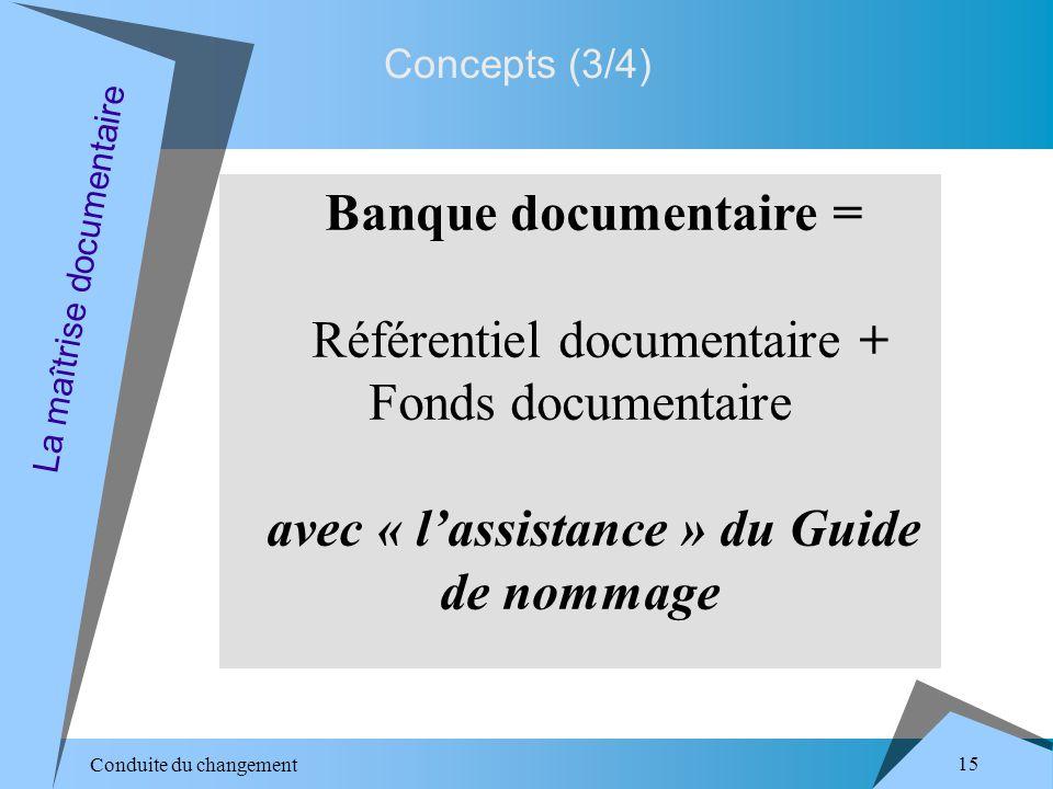 Conduite du changement 15 La maîtrise documentaire Banque documentaire = Référentiel documentaire + Fonds documentaire avec « lassistance » du Guide de nommage Concepts (3/4)