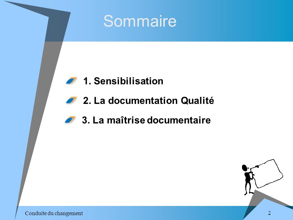 Conduite du changement 3 Sommaire 2.La documentation Qualité 3.