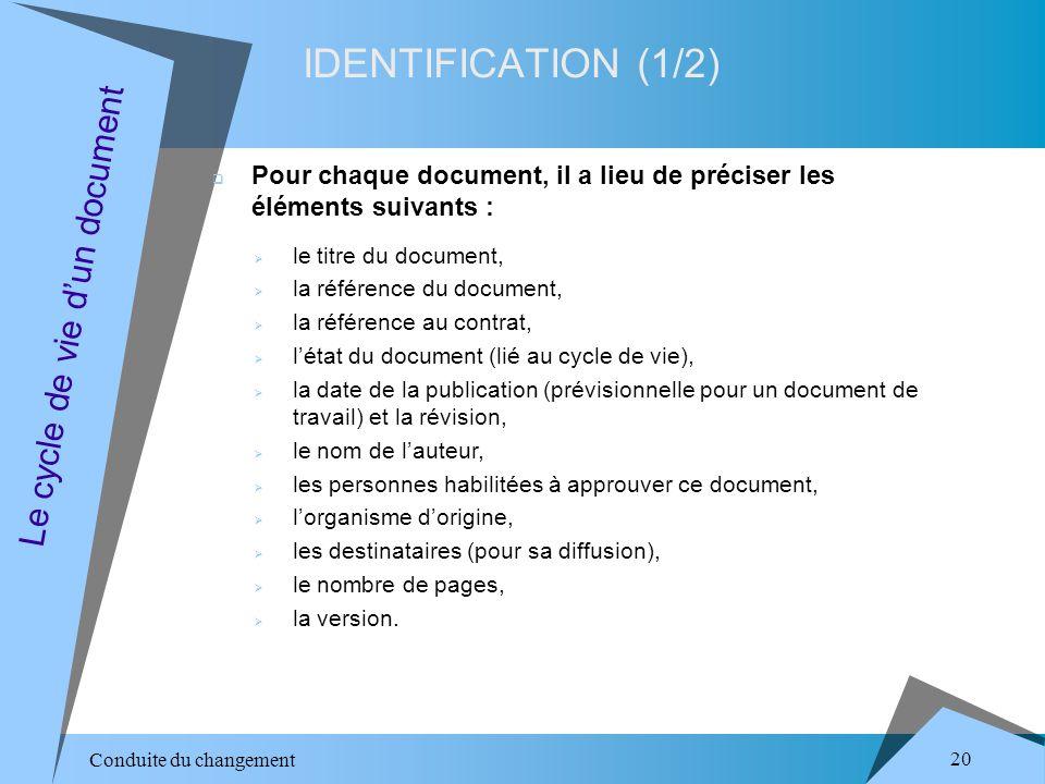 Conduite du changement 20 IDENTIFICATION (1/2) Le cycle de vie dun document Pour chaque document, il a lieu de préciser les éléments suivants : le titre du document, la référence du document, la référence au contrat, létat du document (lié au cycle de vie), la date de la publication (prévisionnelle pour un document de travail) et la révision, le nom de lauteur, les personnes habilitées à approuver ce document, lorganisme dorigine, les destinataires (pour sa diffusion), le nombre de pages, la version.
