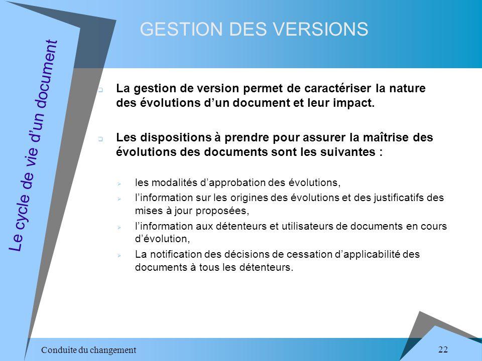 Conduite du changement 22 GESTION DES VERSIONS Le cycle de vie dun document La gestion de version permet de caractériser la nature des évolutions dun document et leur impact.