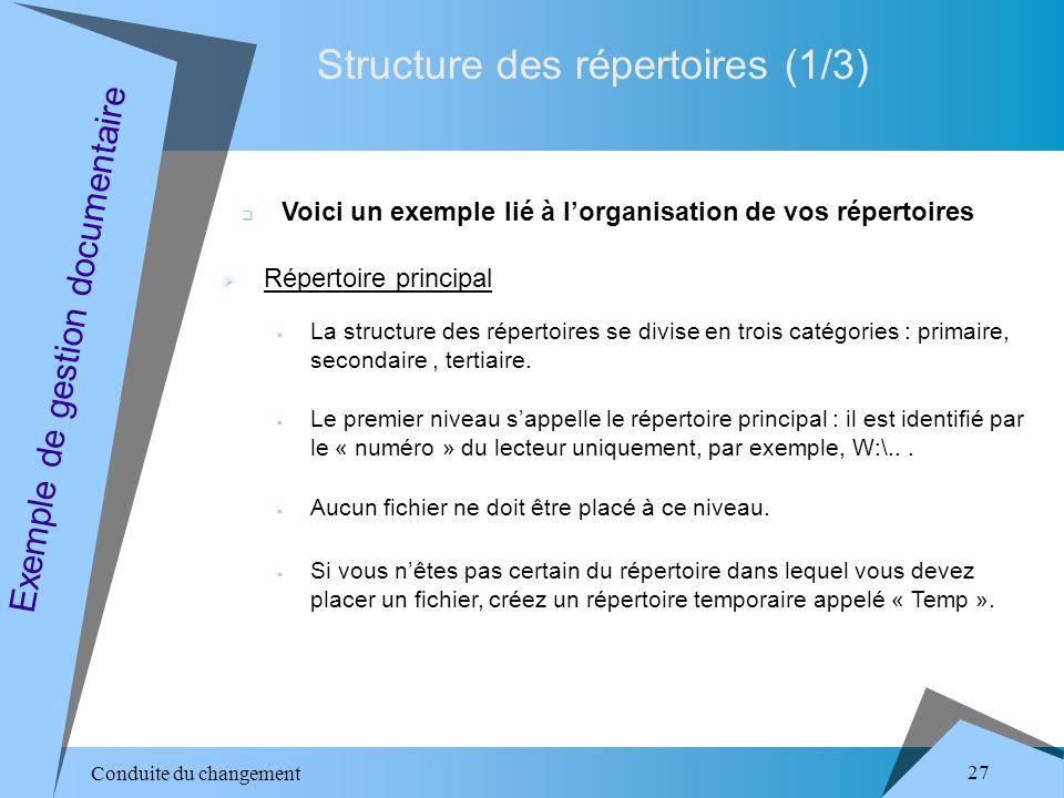 Conduite du changement 27 Structure des répertoires (1/3) Exemple de gestion documentaire Voici un exemple lié à lorganisation de vos répertoires Répertoire principal La structure des répertoires se divise en trois catégories : primaire, secondaire, tertiaire.