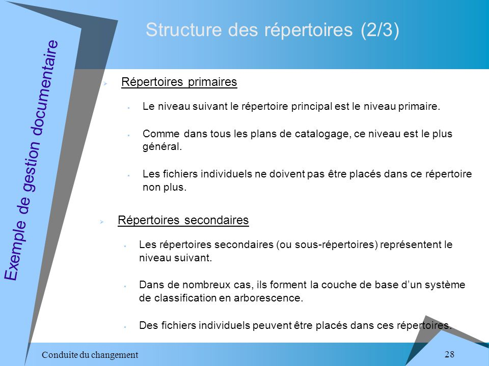 Conduite du changement 28 Structure des répertoires (2/3) Exemple de gestion documentaire Répertoires primaires Le niveau suivant le répertoire principal est le niveau primaire.