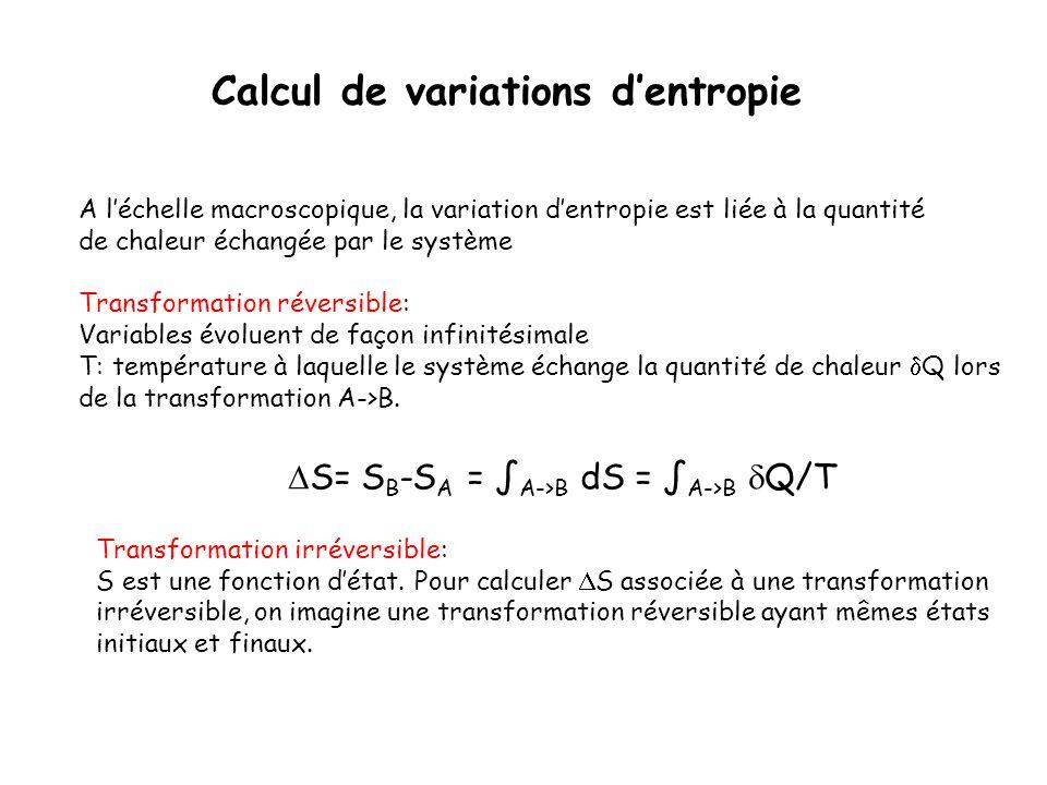 Calcul de variations dentropie A léchelle macroscopique, la variation dentropie est liée à la quantité de chaleur échangée par le système Transformati