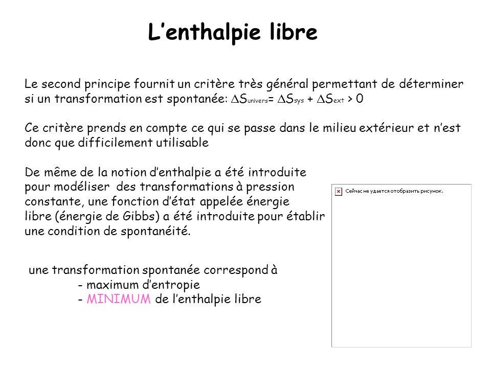Lenthalpie libre Le second principe fournit un critère très général permettant de déterminer si un transformation est spontanée: S univers = S sys + S