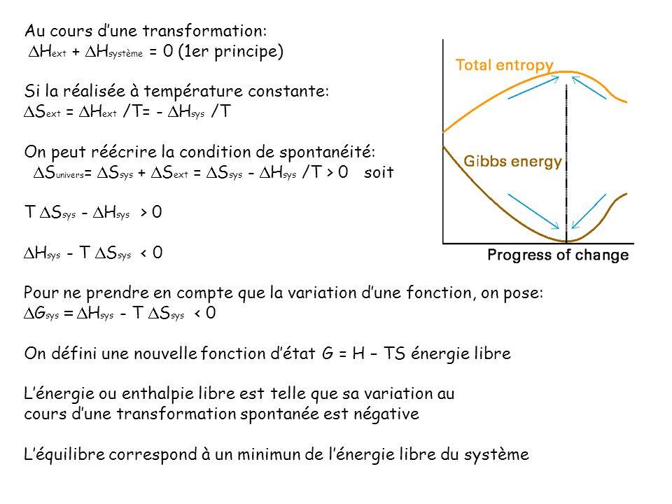 Au cours dune transformation: H ext + H système = 0 (1er principe) Si la réalisée à température constante: S ext = H ext /T= - H sys /T On peut réécri