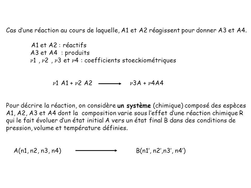 Cas dune réaction au cours de laquelle, A1 et A2 réagissent pour donner A3 et A4. A1 et A2 : réactifs A3 et A4 : produits 1, 2, 3 et 4 : coefficients