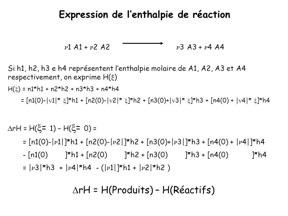 Expression de lenthalpie de réaction 1 A1 + 2 A2 3 A3 + 4 A4 Si h1, h2, h3 e h4 représentent lenthalpie molaire de A1, A2, A3 et A4 respectivement, on