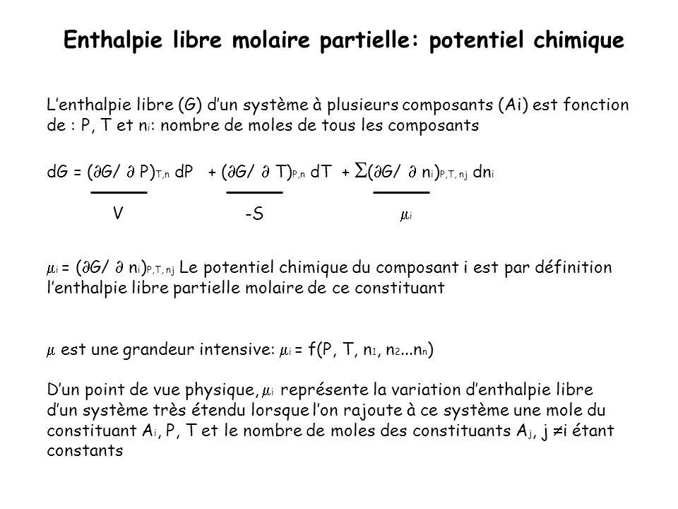 Lenthalpie libre (G) dun système à plusieurs composants (Ai) est fonction de : P, T et n i : nombre de moles de tous les composants dG = ( G/ P) T,n d