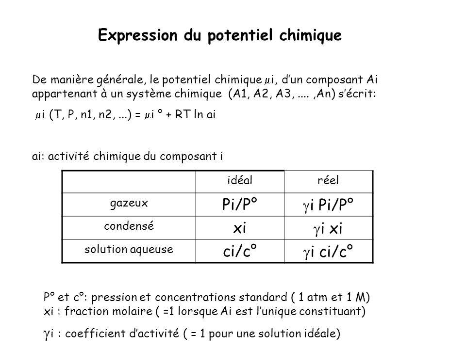 De manière générale, le potentiel chimique i, dun composant Ai appartenant à un système chimique (A1, A2, A3,....,An) sécrit: i (T, P, n1, n2,...) = i