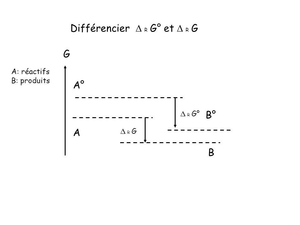 A B A: réactifs B: produits R G° G Différencier R G° et R G A° B° R G
