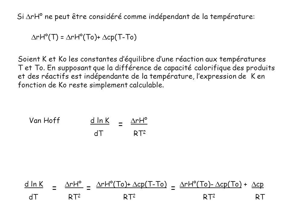 Van Hoff d ln K rH° dT RT 2 = Soient K et Ko les constantes déquilibre dune réaction aux températures T et To. En supposant que la différence de capac