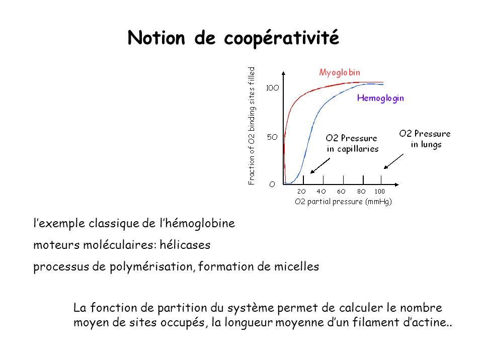 Notion de coopérativité lexemple classique de lhémoglobine moteurs moléculaires: hélicases processus de polymérisation, formation de micelles La fonct