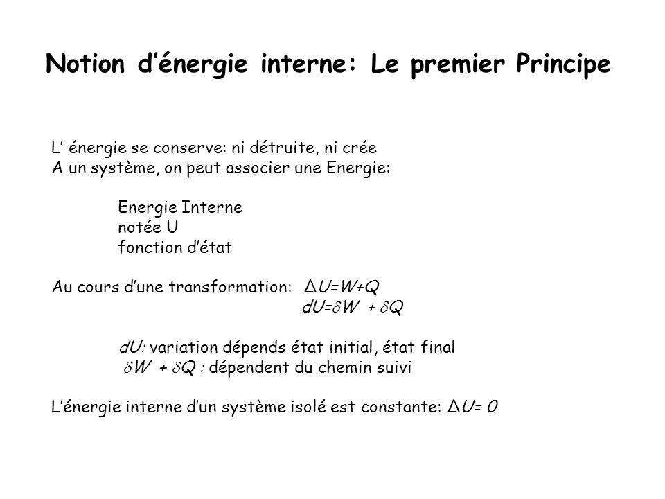 Notion dénergie interne: Le premier Principe L énergie se conserve: ni détruite, ni crée A un système, on peut associer une Energie: Energie Interne n