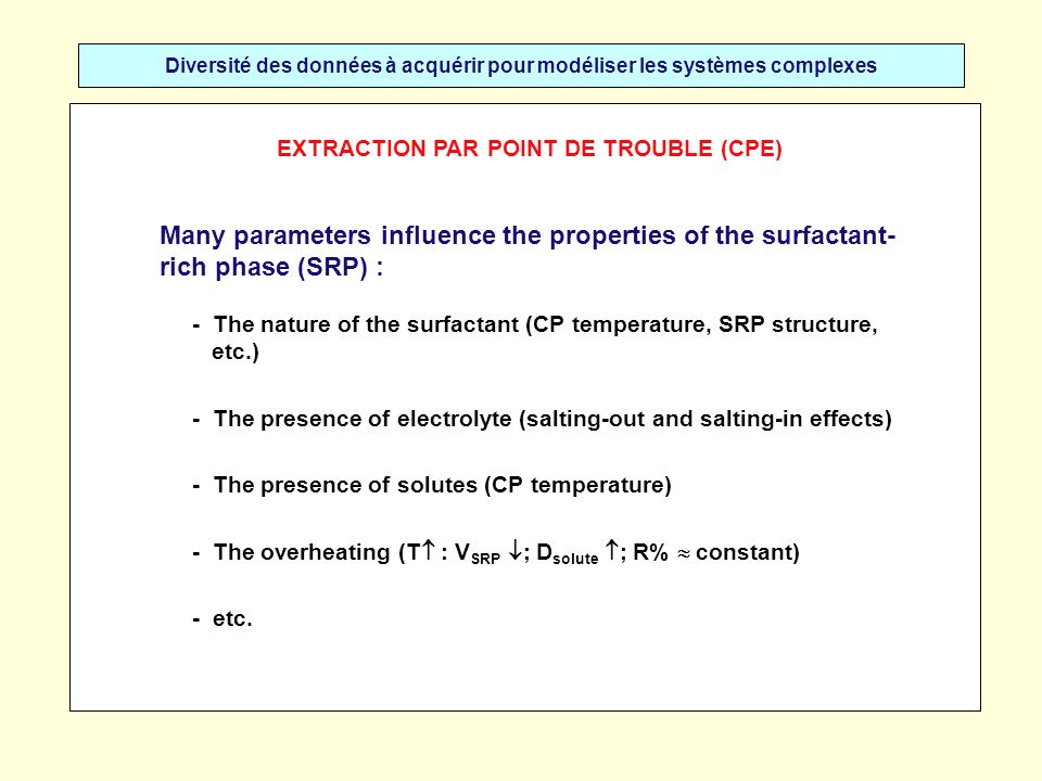 Diversité des données à acquérir pour modéliser les systèmes complexes Many parameters influence the properties of the surfactant- rich phase (SRP) : - The nature of the surfactant (CP temperature, SRP structure, etc.) - The presence of electrolyte (salting-out and salting-in effects) - The presence of solutes (CP temperature) - The overheating (T : V SRP ; D solute ; R% constant) - etc.
