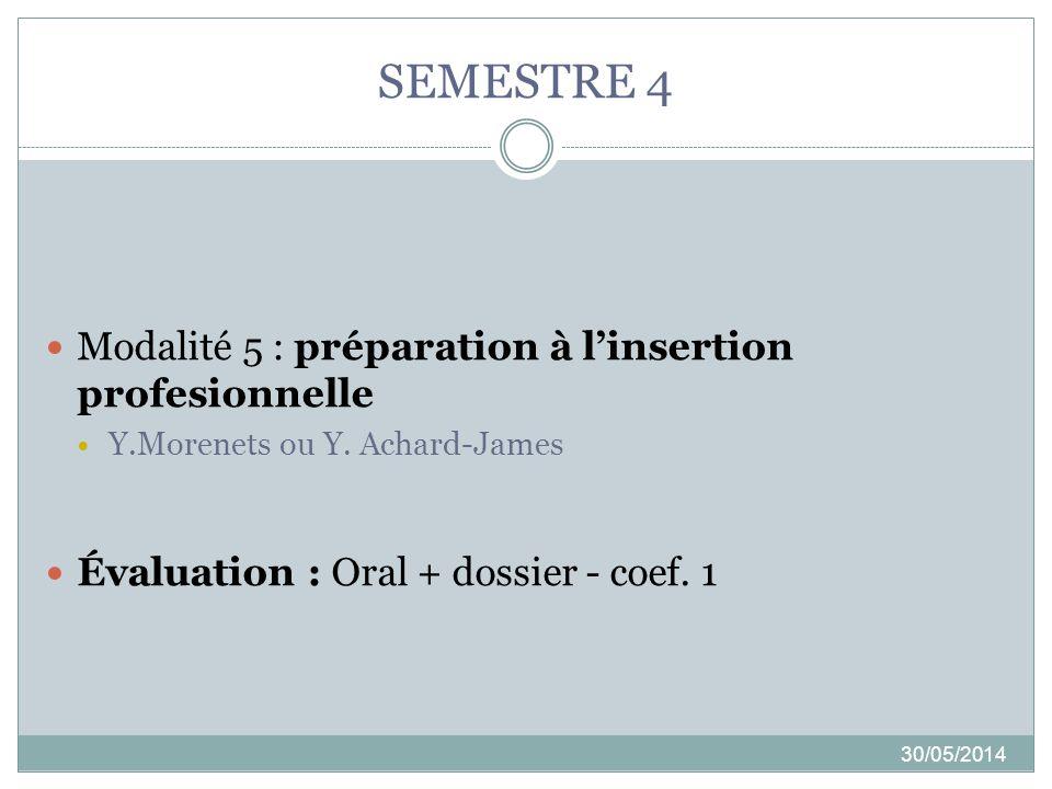 SEMESTRE 4 30/05/2014 Modalité 5 : préparation à linsertion profesionnelle Y.Morenets ou Y. Achard-James Évaluation : Oral + dossier - coef. 1