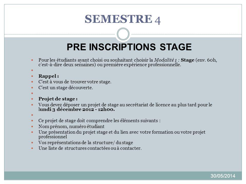 SEMESTRE 4 30/05/2014 Pour les étudiants ayant choisi ou souhaitant choisir la Modalité 1 : Stage (env. 60h, c'est-à-dire deux semaines) ou première e